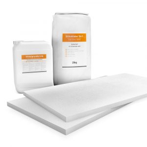 25mm weiße Klimaplatten Renovierpakete plus 2mal Zubehör (Silikatgrundierung & Silikatkleber 3in1)