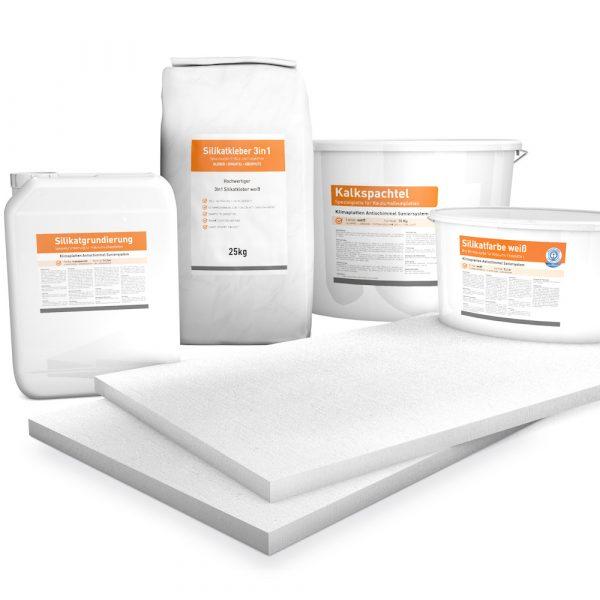 25mm weiße Klimaplatten Renovierpakete plus 4mal Zubehör (Silikatgrundierung, Silikatkleber 3in1, Kalkspachtel, Silikatfarbe)