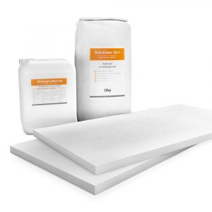 30mm weiße Klimaplatten Renovierpakete plus 2mal Zubehör (Silikatgrundierung & Silikatkleber 3in1)