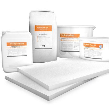 30mm weiße Klimaplatten Renovierpakete plus 4mal Zubehör (Silikatgrundierung, Silikatkleber 3in1, Kalkspachtel, Silikatfarbe)