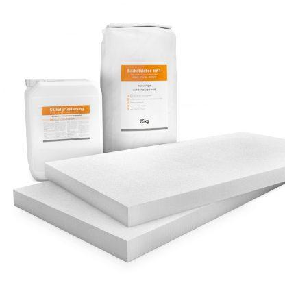 50mm weiße Klimaplatten Renovierpakete plus 2mal Zubehör (Silikatgrundierung & Silikatkleber 3in1)