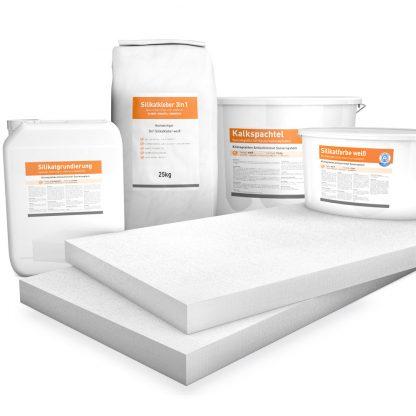 50mm weiße Klimaplatten Renovierpakete plus 4mal Zubehör (Silikatgrundierung, Silikatkleber 3in1, Kalkspachtel, Silikatfarbe)