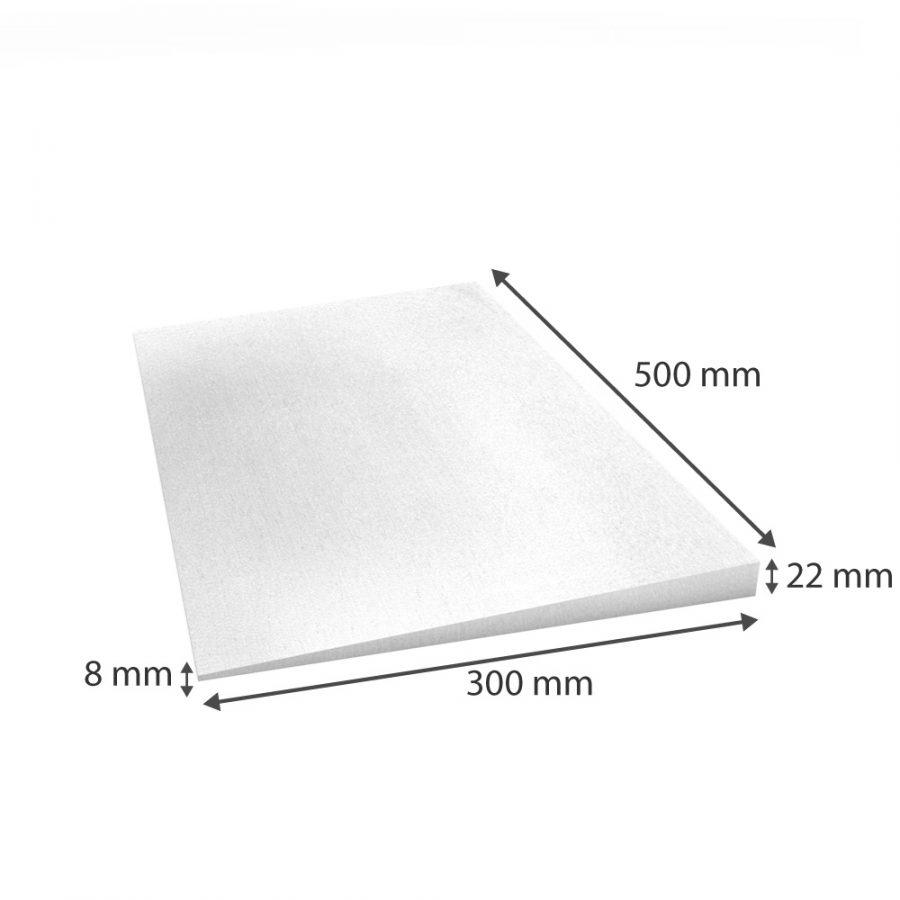 Weiße Keilplatte mit einer Stärke von 22/5mm Maßskizze