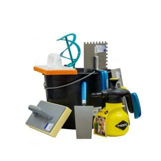 Klimaplatten Werkzeug Pack XL, bestehend aus: Baueimer, Profi Wendelrührer, Putzkelle, Glättkelle gezahnt, Reibbrett, Glättkelle, Hydro-Waschbrett, Profi Drucksprüher