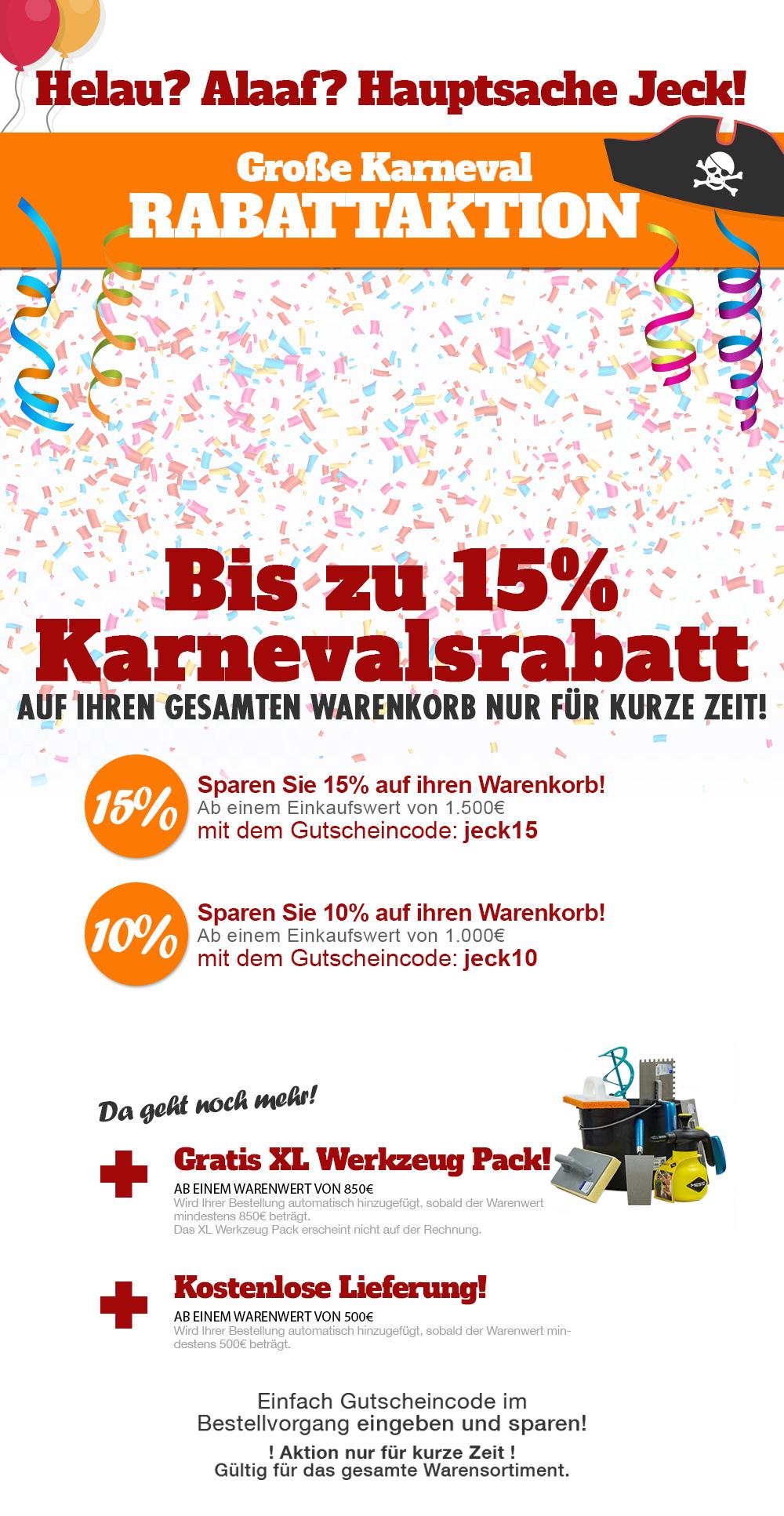 Karnevalsrabatt im Klimaplatten-Shop mit bis zu 15% Rabatt