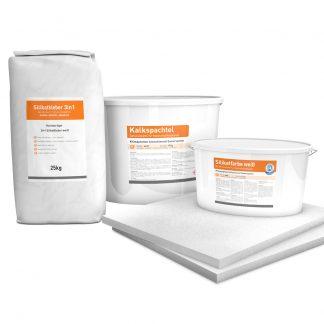 System Set für Innendämmung bestehend aus Kalziumsilikatplatten (500 x 625 x 25mm), Silikatkleber 3in1, Kalkspachtel und Silikatfarbe.