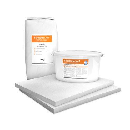 System Set für Innendämmung bestehend aus Kalziumsilikatplatten (500 x 625 x 30mm), Silikatkleber 3in1 und Silikatfarbe.