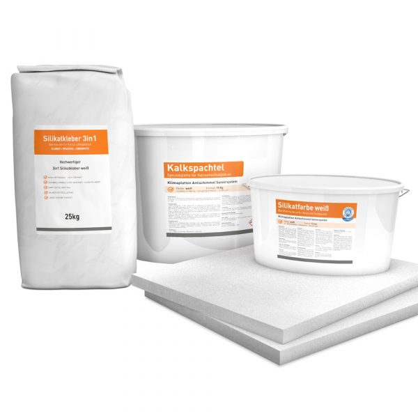 System Set für Innendämmung bestehend aus Kalziumsilikatplatten (500 x 625 x 30mm), Silikatkleber 3in1, Kalkspachtel und Silikatfarbe.