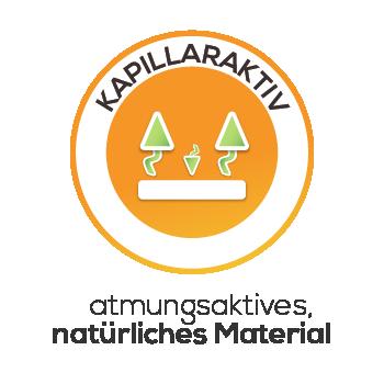 Kapillaraktiv Atmungsaktiv durch natürliches Material Icon