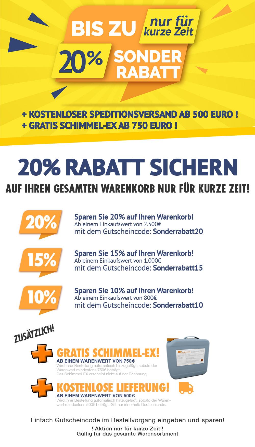 Sonderrabattaktion im Klimaplatten mit bis zu 20% Rabatt, gratis Schimmel-EX und vieles mehr!
