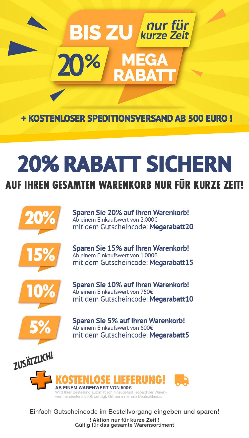 Megarabattaktion im Klimaplatten mit bis zu 20% Rabatt, gratis Schimmel-EX und vieles mehr!