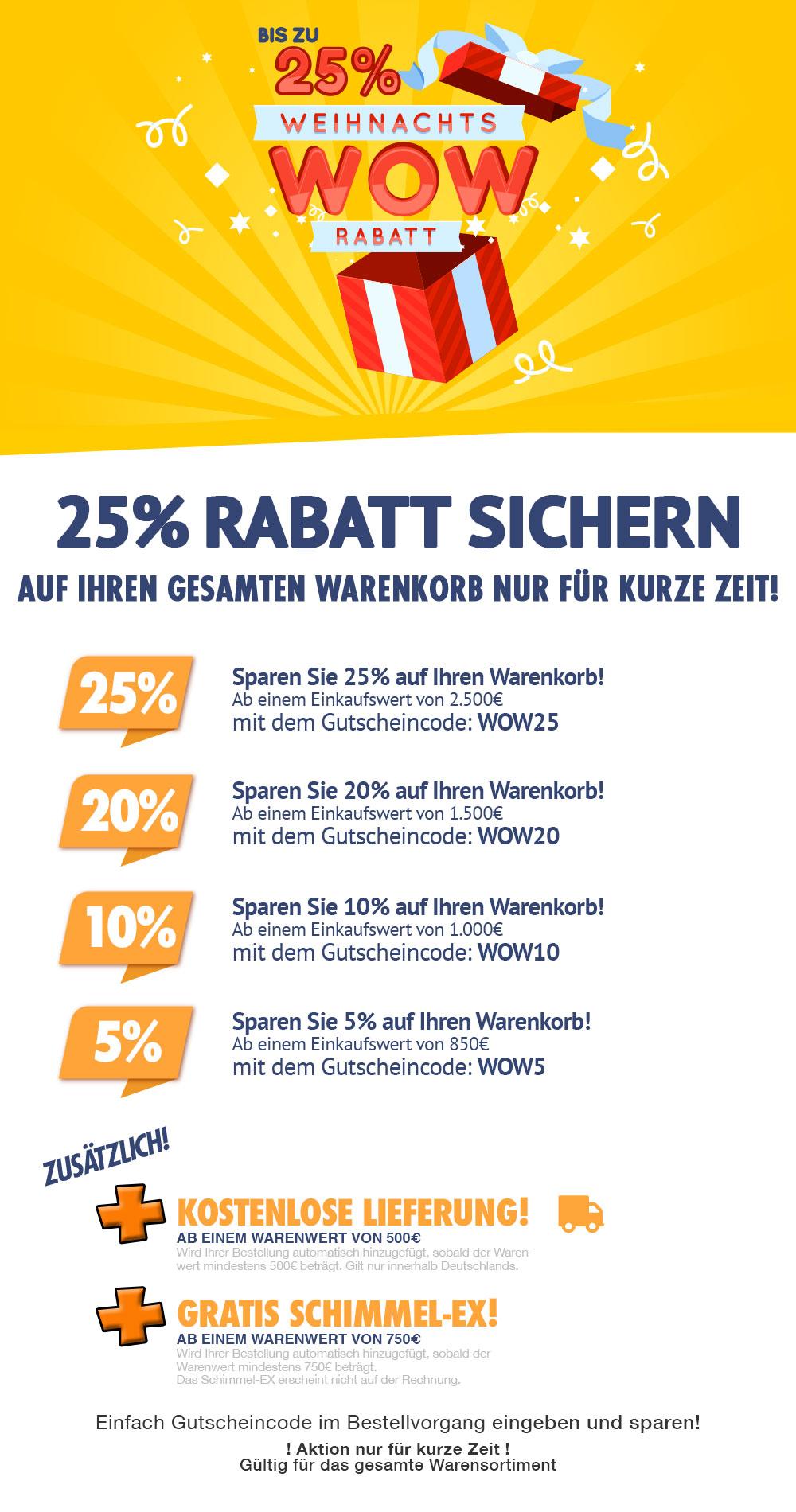 Klimaplatten-Shop Weihnachtsrabattaktion WOW-Rabatte