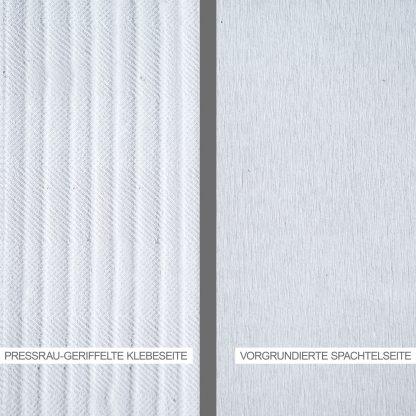Kalziumsilikatplatte mit pressrau geriffelter Klebeseite & vorgrundierter Spachtelseite in der Detailansicht