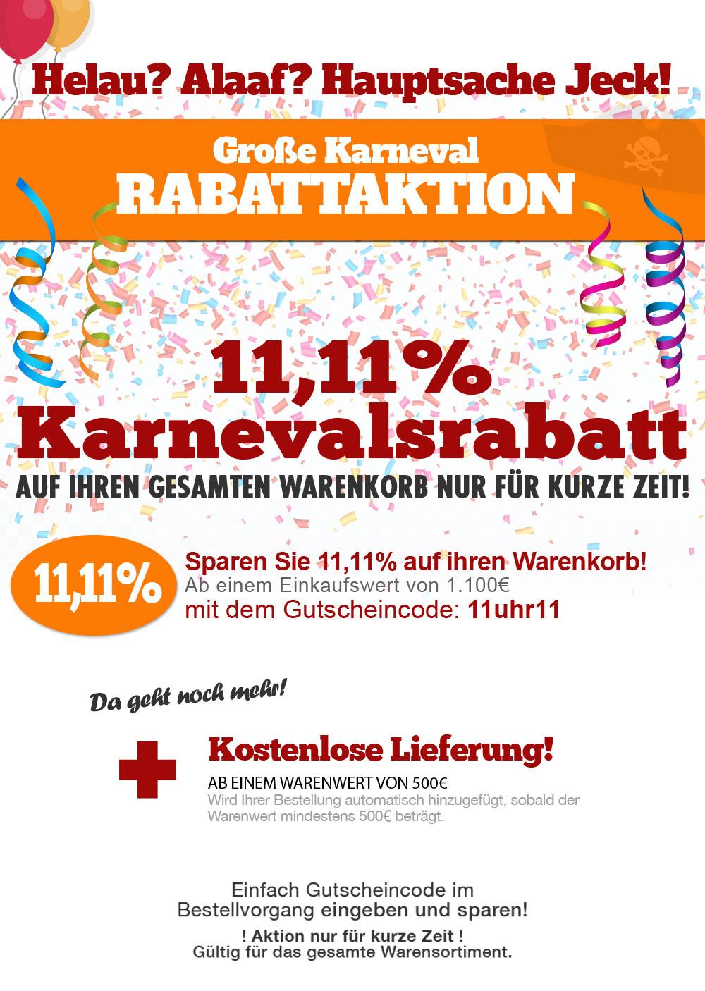 Karnevalsrabatt im Klimaplatten-Shop und 11,11% sparen!