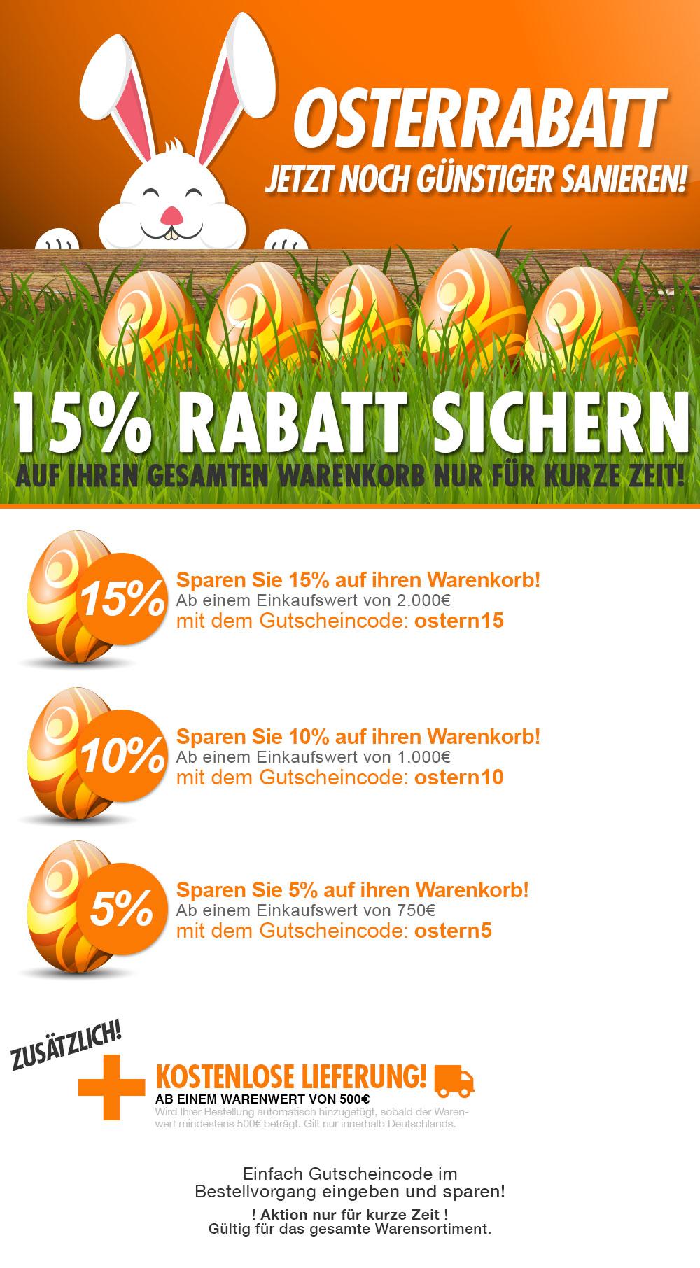 Mit dem Oster Rabatt im Klimaplatten-Shop bis zu 15% sparen